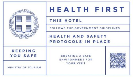 """""""Health First"""" badge. Pines Hotel follows the government guidelines health and safety protocols."""